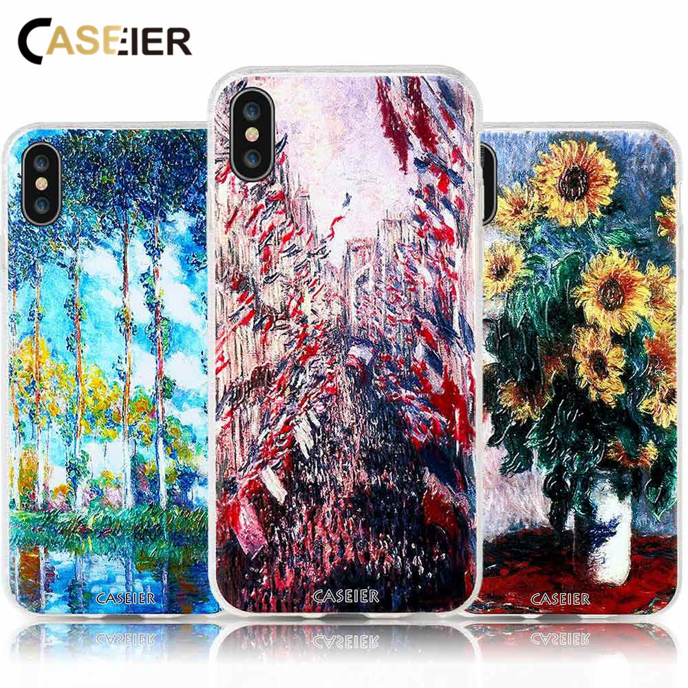 CASEIER 3D Releif Monet Painting Phone Case For IPhone 7 Plus Soft TPU Silicone Cases For IPhone