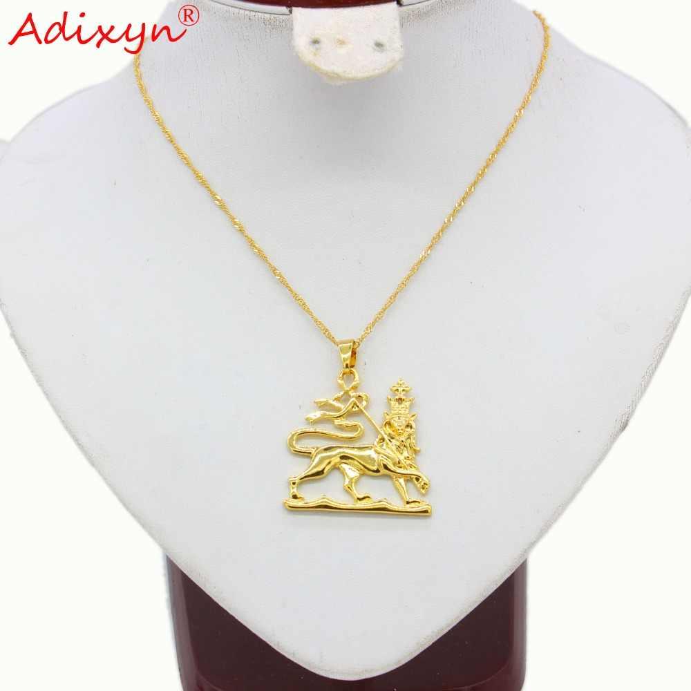 Adixyn האתיופית האריה Desigh תליון שרשראות לנשים גברים זהב צבע תכשיטי אפריקה טרנדי שרשרת N11017