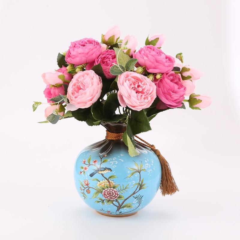 Ceramic Vase Peony Rose Art Simulation vase vase peony decorative bedroom