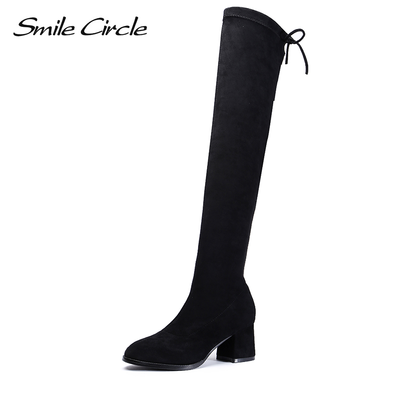 Smile Circle High-quality Thigh High Boots Women Sheep Suede Over the Knee High heel ladies Shoes Elasticity Winter Fashion Boot luxury purple floral highland sheep suede boots cat out flower spring winter over the knee boots women brand shoes nancyjayjii