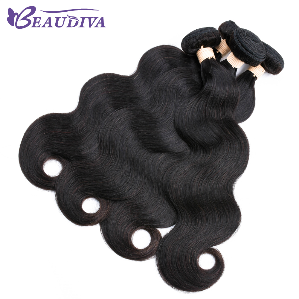 2019 Beau Diva Brazilian BodyWave 3 4 Bundles Human Hair Extensions 1B Natural Color 8 24