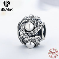 925 Sterling Silver Luminous Love Knot White Crystal Imitation Pearl Beads Fit Original Pandora Charm Bracelet