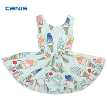 2018 New Fashion Cute Sweet Ice Cream Print Baby Girl Infant Bodysuit Jumpsuit Sunsuit Pretty Light Green Outfits(China)