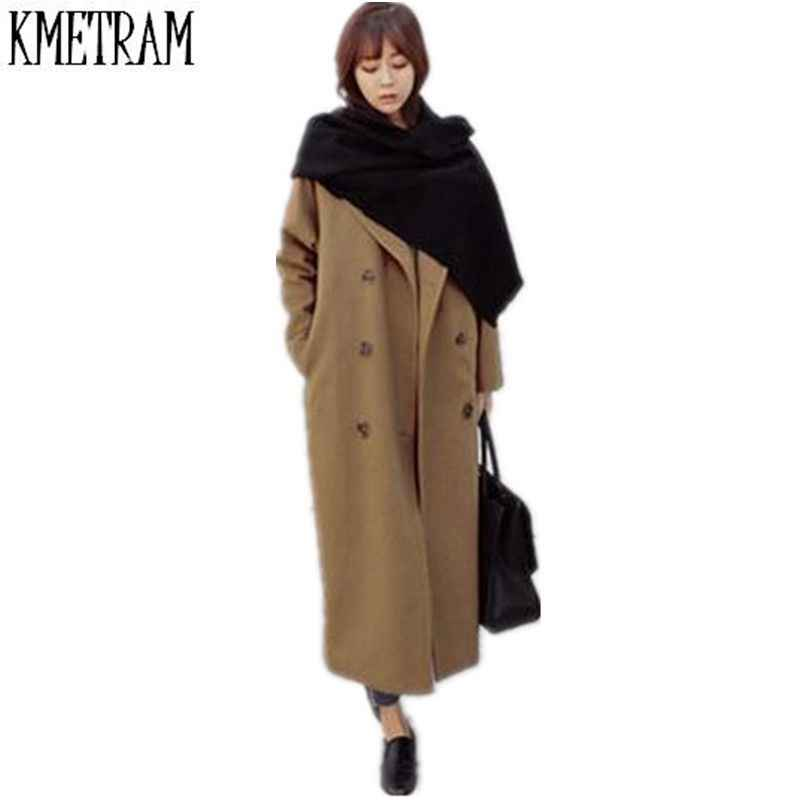 clear-cut texture offer select for authentic New Cashmere Jackets Female Long Loose Double Breasted Camel Wool Coat  Women Woolen Trench Coat Plus Size Abrigos Mujer CJJ0031