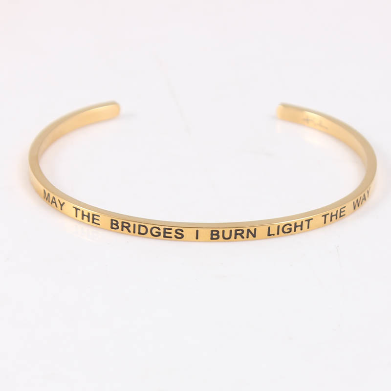 Stainless Steel Open Cuff Bracelet Gold Bangle Engraved May The Bridges I Burn Light Way Mantra In Bangles From Jewelry