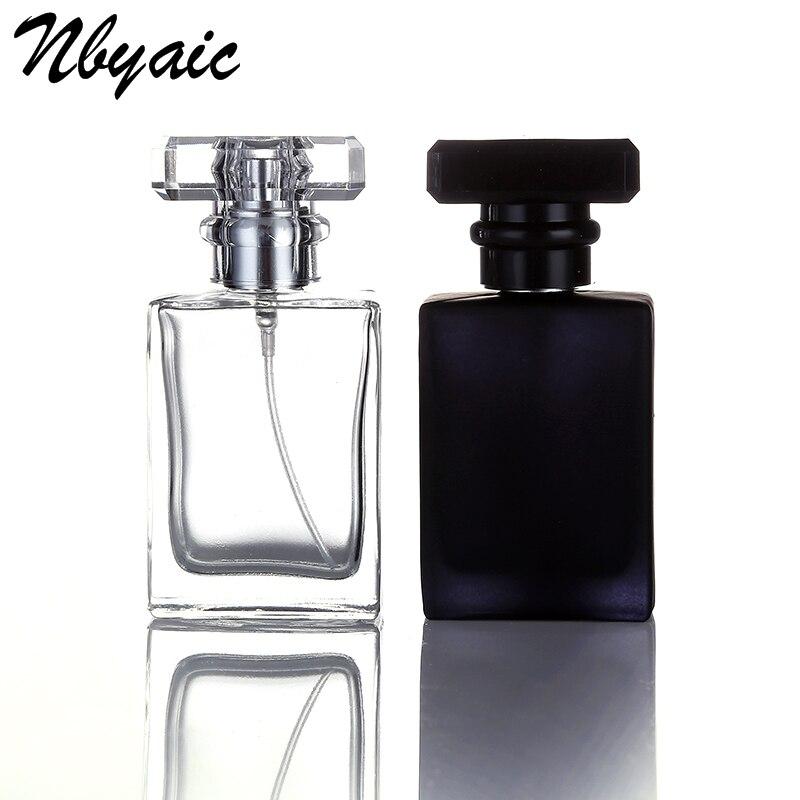Nbyaic 1Pcs Retail 30ml 50ml square perfume spray glass bottle spray bottle reusable bottle black and transparent bottle glass bottle