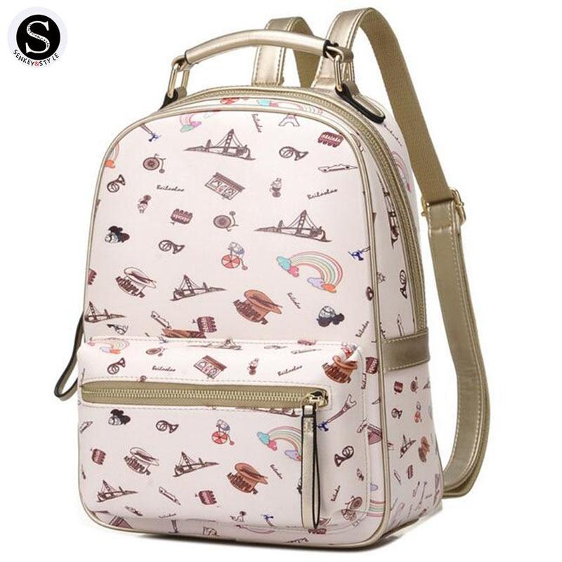 Senkey Style Printing Women Backpack School Bags For Teenagers Graffiti Cartoon Landscape Letter Travel Designer Backpack
