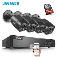 ANNKE 1080N 8CH 720 P видеонаблюдения Системы HD 720P 4 шт. DVR 1MP 1200TVL система видеонаблюдения TVI 720 P всепогодный Камера комплект 1 ТБ HDD