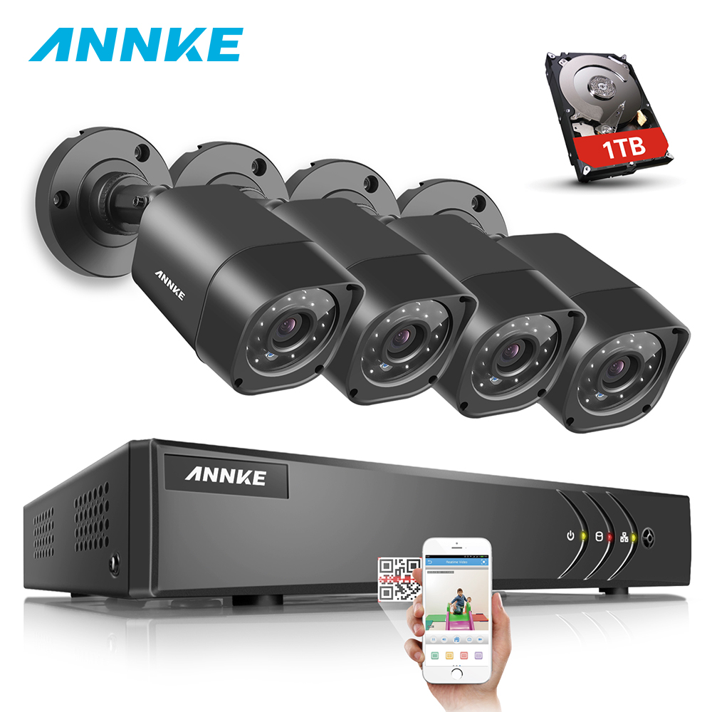ANNKE 1080N 8CH 720P Security Surveillance System HD 720P 4PCS DVR 1MP 1200TVL TVI CCTV 720P Weatherproof Camera Kit 1TB HDD annke 8ch 5 in 1 dvr kits surveillance camera hd 720p tvi cctv security system 1080n dvr kit 1280tvl outdoor weatherproof video