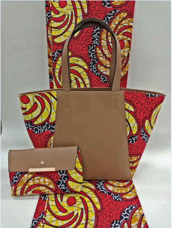 (3pcs/set)6yards red and yellow hollandais wax veritable macthing african handbag and african purse for african wome May-29-2018