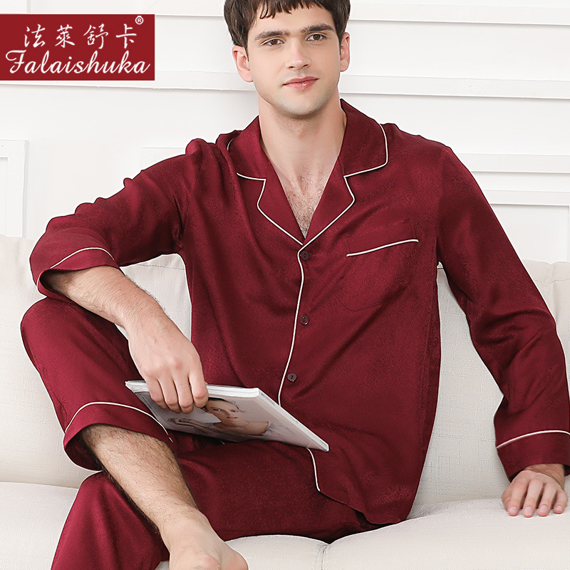 Quality 100% Mulberry Silk Pajamas Sets Men 19 Momme Genuine Silk Noble Sleepwear Men Elegant Pyjamas Sets For Men T9040