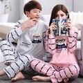 2016 de Primavera y Otoño de Algodón Mujeres Pijamas de Hombre de manga Larga a Rayas Pijamas Homewear de Dibujos Animados para el amante del Tamaño M ~ 2XL A8991