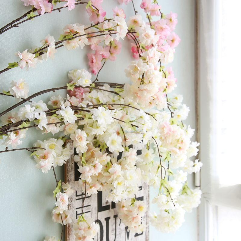Artificial Sakura Flowers Natural Vertical Silk Cherry Blossom For Wedding Home Wall Decor DIY