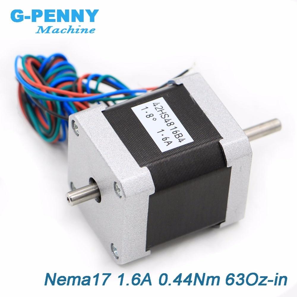 CNC doble eje motor paso a paso 42x48 NEMA17 Stepper motor 1.6A 0.44N.m Nema 17 stepping motor 63Oz-in para CNC máquina 3D impresora