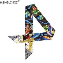 Luxury Brand Hummingbird Print Skinny Silk Scarf Bag Ribbons For Women Female Ne