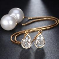 Long Ear Wire Earrings Pearl Earrings Earrings Zircon Jewelry Wholesale Drop