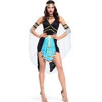 Ancient Egyptian Mythology Goddess Blue Belt Goddess Queen Princess dress women Adult Masquerade Sexy Uniform Halloween Costume