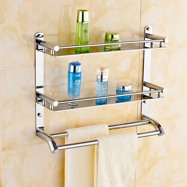 Free Shippin 304 Stainless Steel Bathroom Shelf Toilet Rack Towel Hanging Bar Makeup