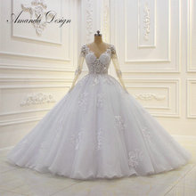 2019 Luxury Shinny Beading Arabic Wedding Dress With Long Sleeves Ball Gown