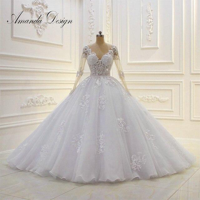 Robe de mariée arabe, robe de mariée luxueuse, robe de bal, manches longues, perlée, 2019