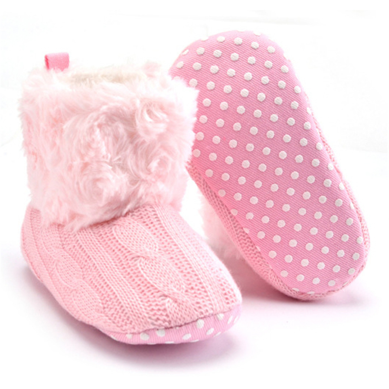 CieKen Baby Girls Knit Soft Fur Winter Warm Snow Boots Crib Shoes