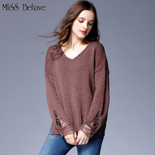 Plus Size Women Loose Pullover Split Sweater 2017 Autumn Female Sweater Lady Fashion Office Street Wear Clothing Sweater Tops