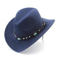 Women Men Wool Hollow Western Cowboy Hat Roll Up Wide Brim Felt Cowgirl Jazz Godfather Sombrero