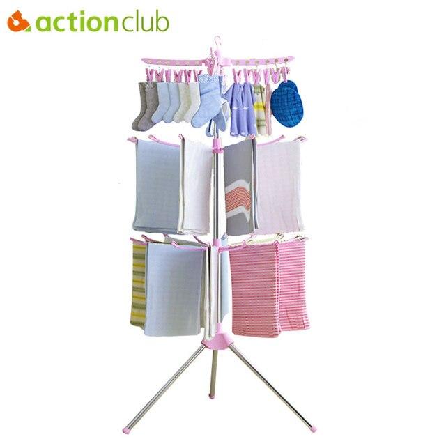 42ec6f358e5 Actionclub Foldable Laundry Clothes Drying Rack Multifunctional Clothes  Hanger Organizer Balcony Towel Sock Rack Hanger