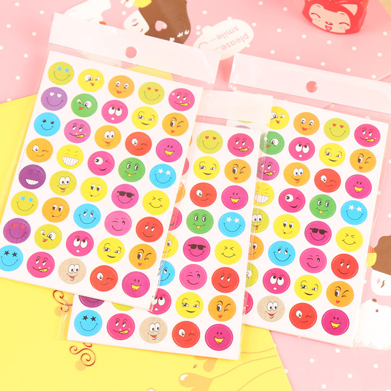 Lovely Cartoon Expression Child Award Sticker Colorful Smiley Stickers Smile Sticker Diy Decoration Diary Stickers Classic