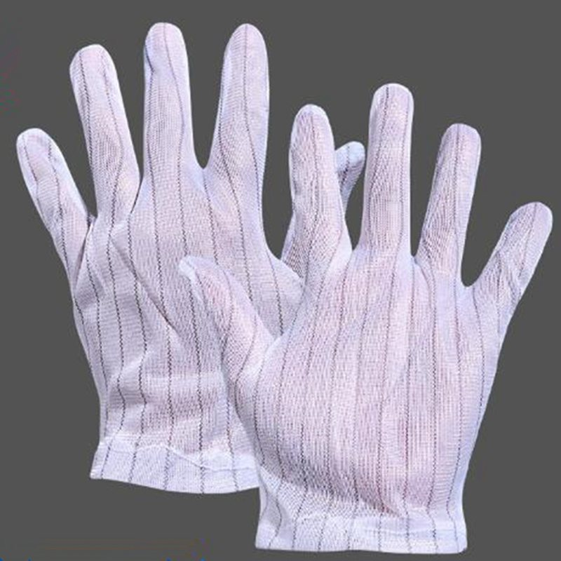 10 Pairs Anti-Static Anti-Skid Gloves White Stripe ESD PC Computer Repair Electronic Working Clean Protection Gloves BBB0185