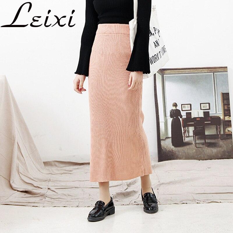 Otoño Invierno Falda larga de punto las mujeres oficina del paquete de la  cadera falda Maxi de dama elegante costilla lápiz midi abierto borde split  Skirt b2109b549ada