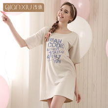 High quality Nightgown For Women Half sleever Knee-length Homedress Modern Lingerie for women Cotton sleepshirts 1620
