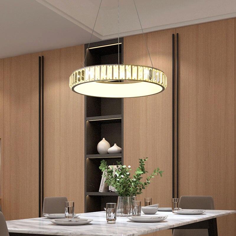 Modern led pendant light Crystal lighting ring restaurant ...