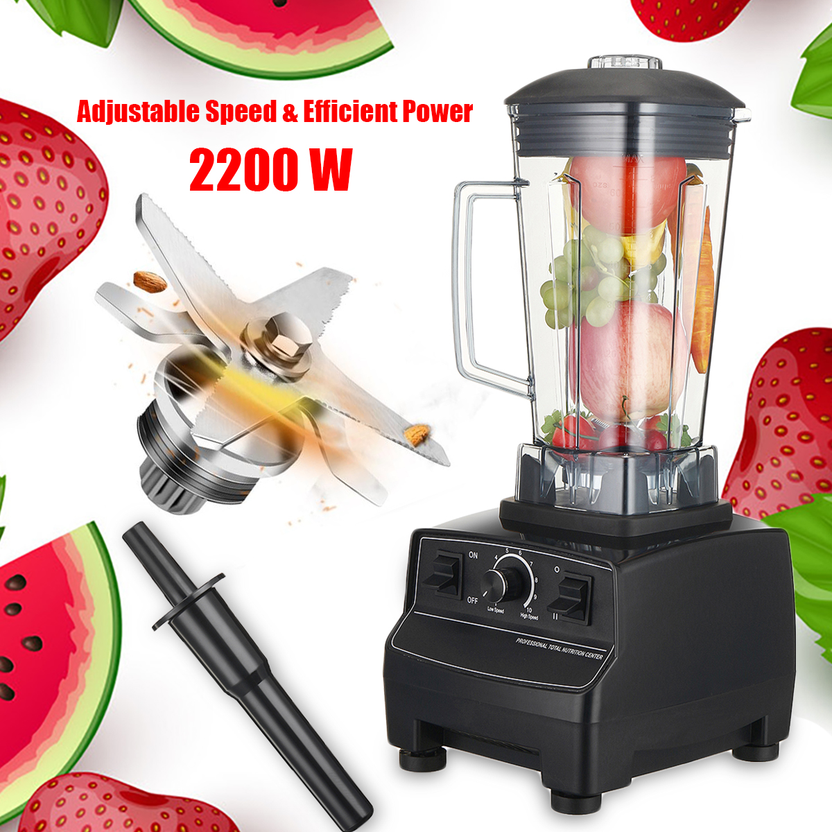 2L 2200W 3HP 110V US 6 Blades 45000-peak Blenders 10 Adjustable Speed Hardened Stainless Steel Blades Easy Metal Connect System стоимость
