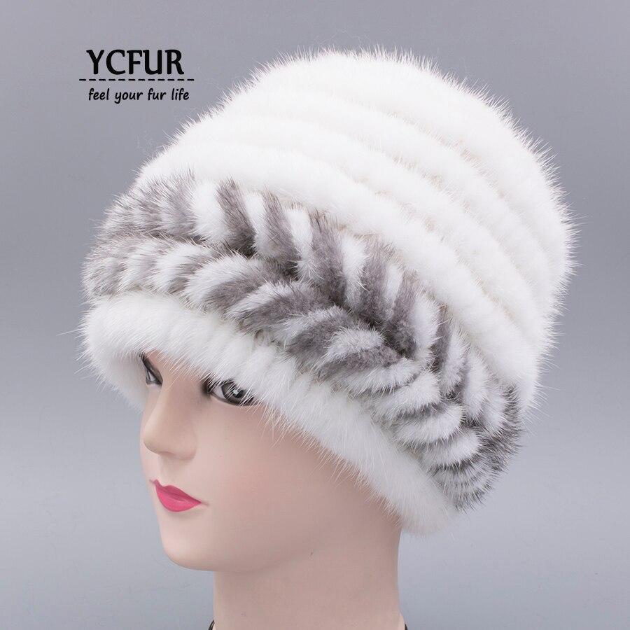 [YCFUR] Hiver Casquettes Chapeaux Pour Femmes En Tricot De Fourrure De Vison Bonnets Chapeaux Hiver Chaud Double Intérieure Classique Style femelle Cap Manchon Chapeu