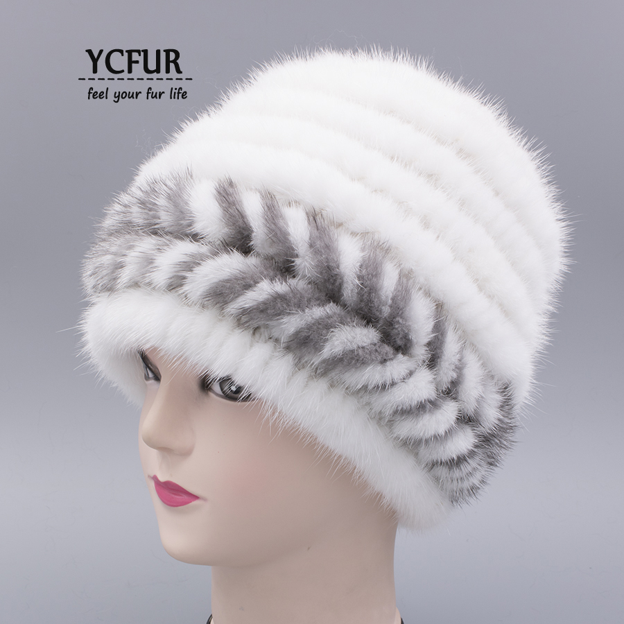 YCFUR Winter Fur Caps Hats For Women Knit Mink Fur Beanies Hats Winter Warm Double Inner Classic Mink Female Cap Muff Chapeu women s cap knitted mink fur hat for women winter warm fashion leather fur headdress beanies russian mom ladies caps