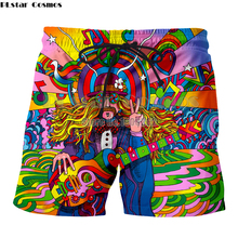 PLstar Cosmo Hippie Musician Mens colorful a groovy hippie unisex shorts 3d Printed Casual shorts Drop