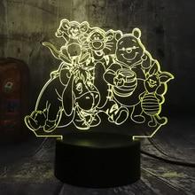 Cartoon Big Family Cute 3D Lamp Winnie Bear Eeyore Tigger Friends Remote Table Kids LED Night Light Bedroom Decoration
