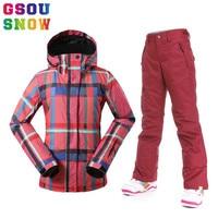 Gsou Snow Women Ski Jacket Pants Sets Windproof Waterproof Ski Suit Outdoor Wear Skiing Super Warm