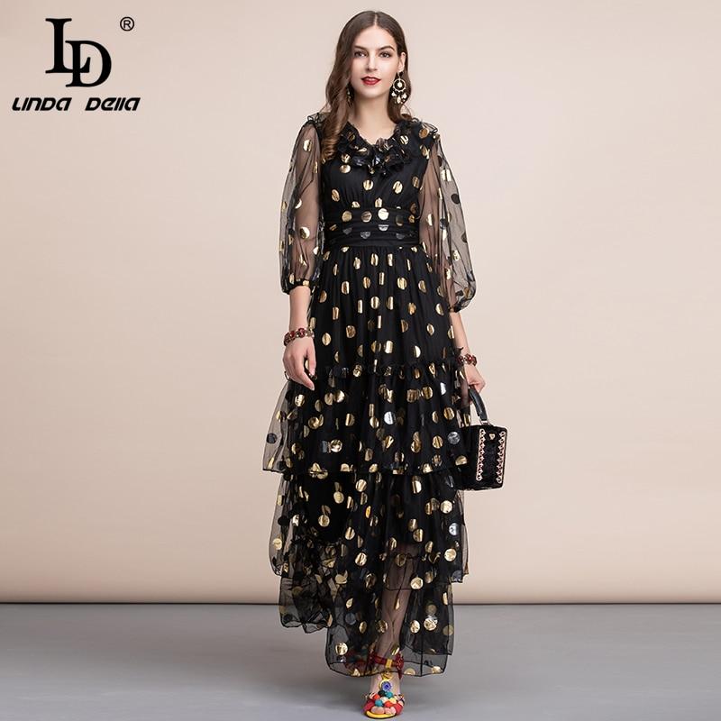 LD LINDA DELLA Autumn Vintage Black Maxi Dress Women's V Neck Ruffles Dot Tiered Layer Hem Mesh A Line Party Gown Long Dress