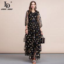 LD LINDA DELLA Autumn Vintage Black Maxi Dress Women's V neck Ruffles Dot Tiered Layer Hem Mesh A Line Party Gown Long Dress цена