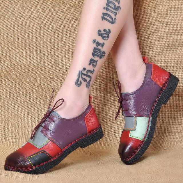 HTB1xO3DRpXXXXbEaXXXq6xXFXXXG - Women's Handmade Genuine Leather Flat Lace Shoes-Women's Handmade Genuine Leather Flat Lace Shoes