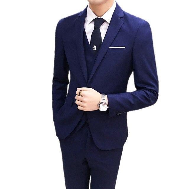 Blazers pantalones chaleco 3 unidades 2018 nuevos hombres novio boda Casual  vestido de negocios traje 32f67887b20