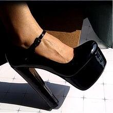 Onlymaker נשים מרי ג יין פלטפורמת משאבות קרסול רצועת עבה 15 ~ 16cm עגול העקב עקבים גבוהים שמלת נעלי אבזם גדול גודל US5 ~ US15