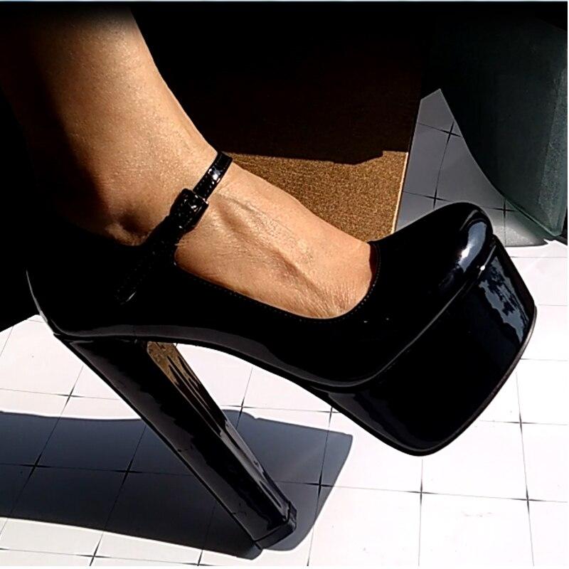 Onlymaker femmes Mary Jane plate-forme pompes bride à la cheville épaisse 15 ~ 16cm talon rond talons hauts robe boucle chaussures grande taille US5 ~ US15