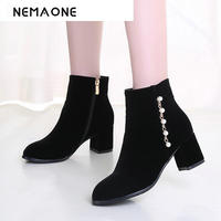 Black red ankle women boots women fashion winter platform boots women shoes square heel boots