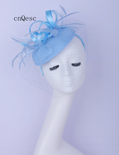 2019 Baby blue wool felt fascinator satin loops veiling Kentucky Derby wedding races bridal shower mother of the bride w/feather