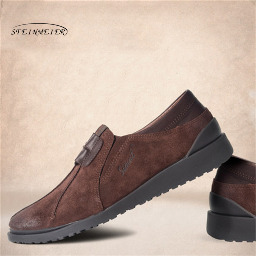Men flat Casual leather shoes Men s Breathable black matte cowskin Shoes slip on Men Flats