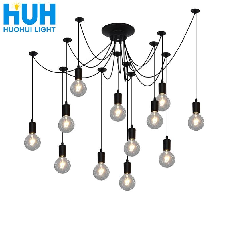 DIY Vintage Spider Pendant Lamp Hanging Eire Length Adjustable Retro E 27 Edison Loft Style Classic Decorative LED Home Lighting
