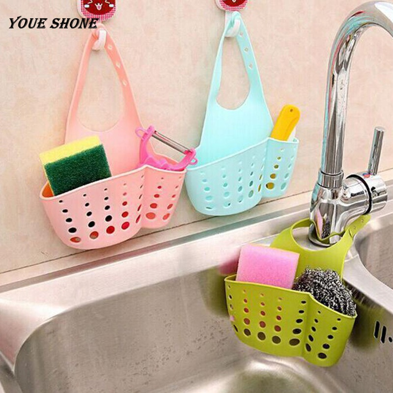 Youe shone Kitchen Hanging Drain Bag Basket Bath Storage Gadget Tool Sink Holder Bathroom Soap Hanging Water Laundry Basket